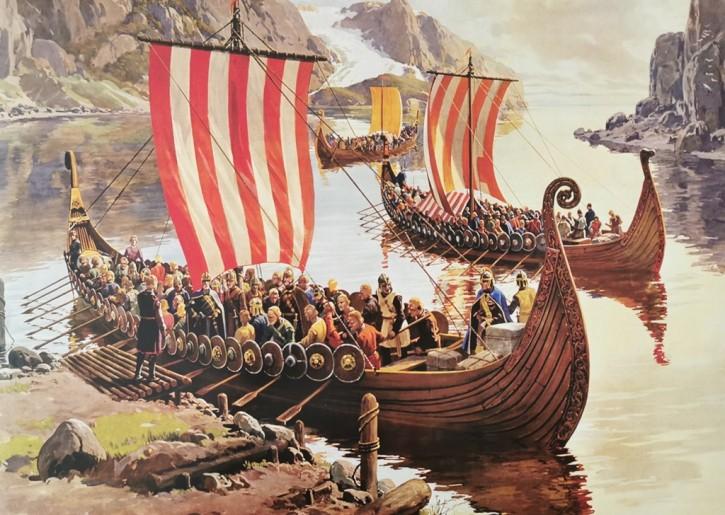 Kunstdruck Ausfahrt der Wikingerschiffe