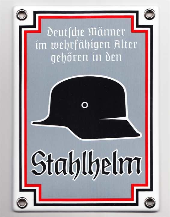 """Emailleschild """"Stahlhelm"""""""