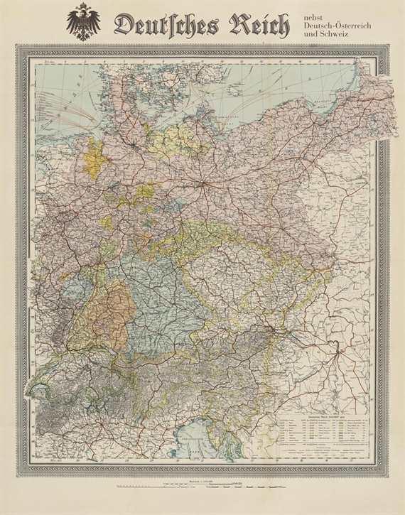 """Bildwandkarte """"Deutsches Reich"""" gefalzt"""