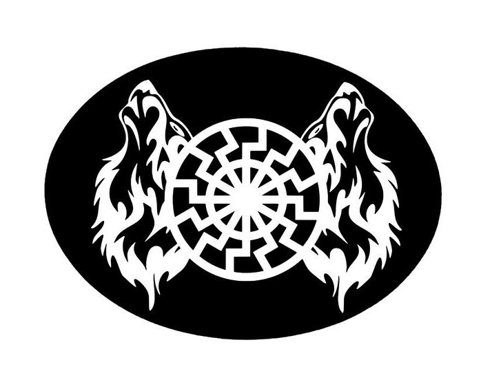 Aufnäher Schwarze Sonne / Wölfe
