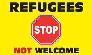 Fahne Flüchtlinge nicht Willkommen