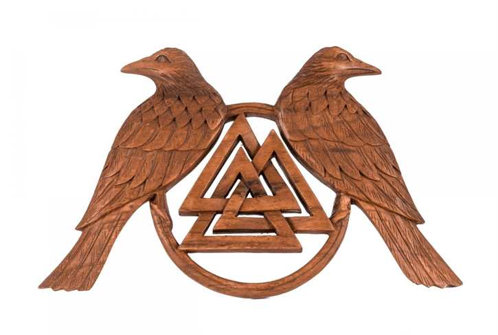 Wotansknoten Hugin & Munin aus Holz