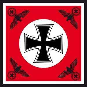 Fahne Eisernes Kreuz mit vier Reichsadlern rot