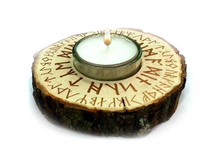 Teelicht mit Runenspruch