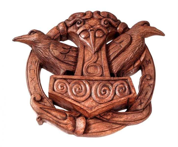 Thorshammer mit Hugin & Munin aus Holz