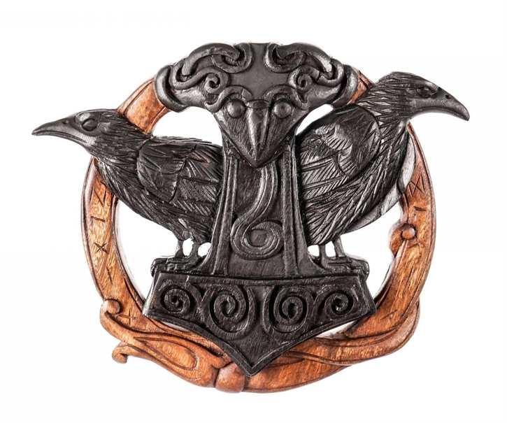 Thorshammer mit Hugin & Munin aus Holz, geschwärzt