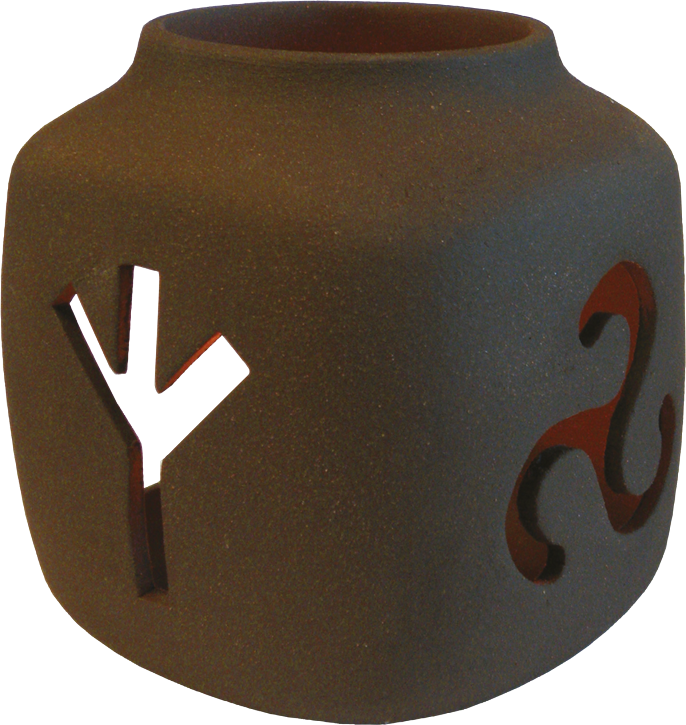 Keramik Runenleuchter mit Triskele Braun