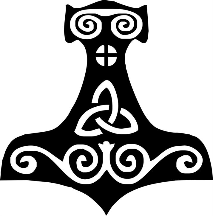 Aufkleber Thorshammer, schwarz