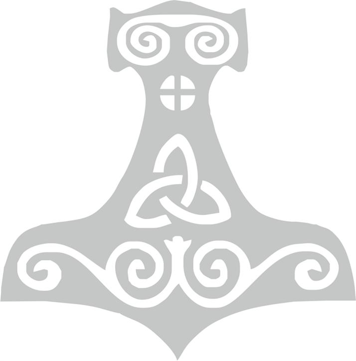 Aufkleber Thorshammer, silber