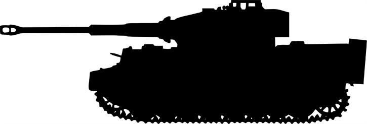 Aufkleber Tiger-Panzer, schwarz