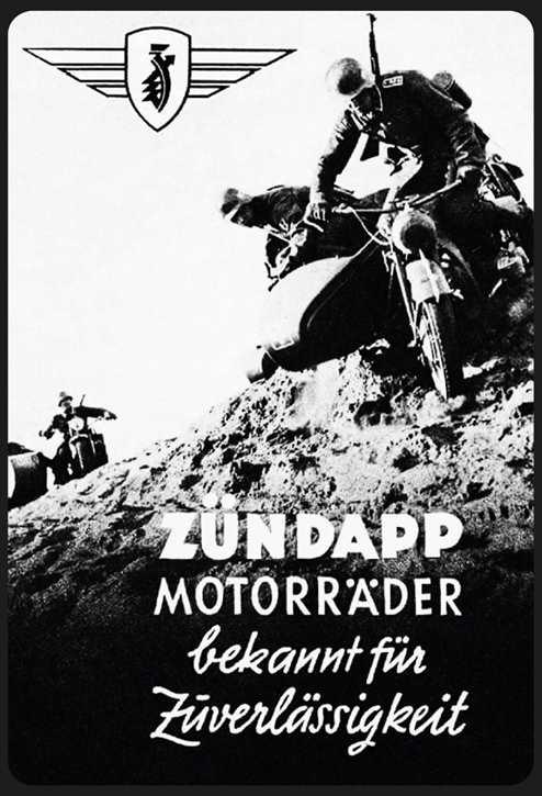 Werbeschild Zündapp Motorräder