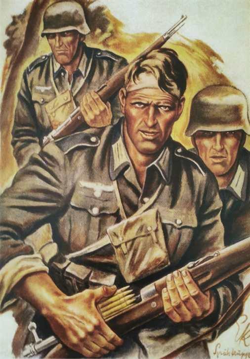 Kunstdruck Spähtrupp im Westen 1940