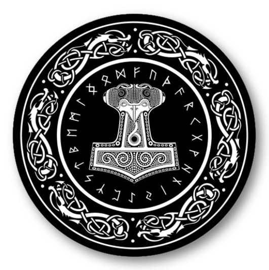 Mausunterlage - Thors Hammer mit Runenalphabet