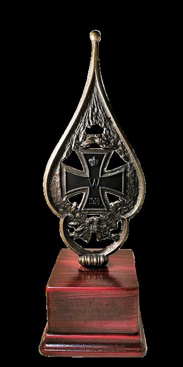 Regiments Fahnenspitze Eisernes Kreuz mit Sockel
