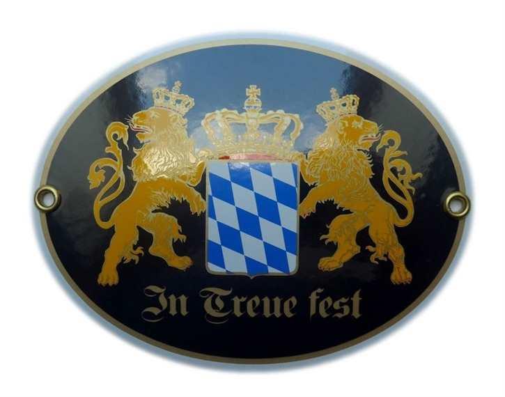 Emailleschild In Treue fest - Bayernwappen