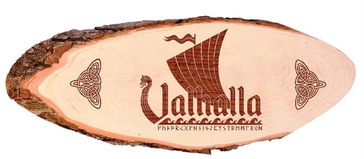 Holzscheibe Wikingerschiff Walhalla