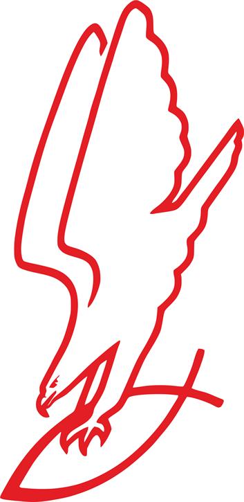 Aufkleber Adler greift Fisch, rot