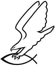 Aufkleber Adler greift Fisch, schwarz