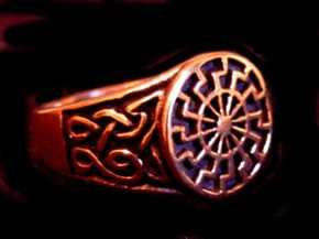 Ring Siegelring Schwarze Sonne in Bronze