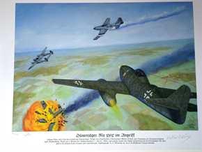 Kunstdruck Düsenjäger Me 262 im Angriff