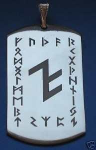 Anhänger Schutzrune ALU im Runenkranz
