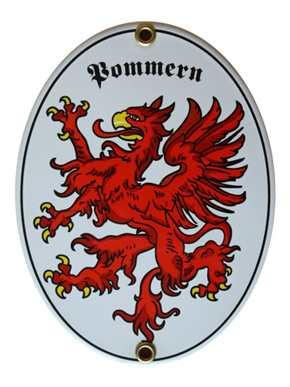Emailleschild Pommern