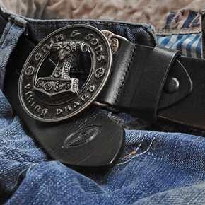 Ledergürtel mit Thorshammer - schwarz