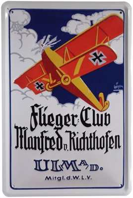 Werbeschild Flieger Club Manfred v. Richthofen