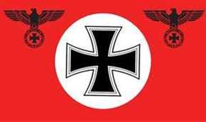 Fahne Adler - rot mit Kreis und eisernem Kreuz