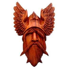 Odin Wandrelief aus Holz, handgeschnitzt