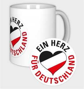 Tasse Ein Herz für Deutschland s/w/r