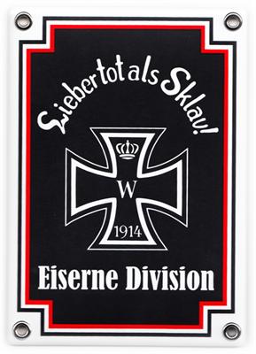 Emailleschild Eiserne Division