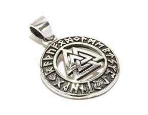 Anhänger Wotansknoten mit Runenband - 925er Silber