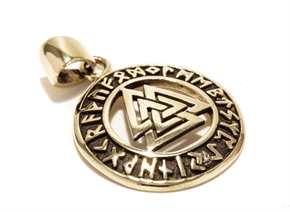 Anhänger Wotansknoten mit Runenband - Bronze