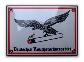 Emailleschild Deutsches Raucherschutzgebiet