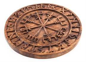 Holzbild Wikingerkompass mit Runenband