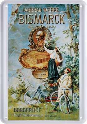 Blech-Postkarte Fahrrad-Werke Bismarck