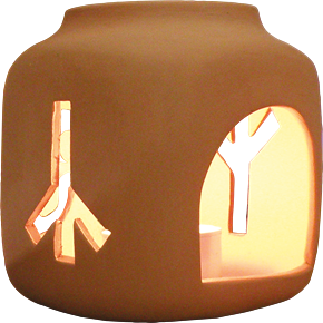 Keramik Runenleuchter mit Triskele Natur