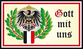 Fahne Gott mit uns Eichenlaub s/w/r
