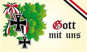 Fahne Gott mit uns Eichenlaub s/w/r mit EK