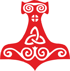 Aufkleber Thorshammer, rot