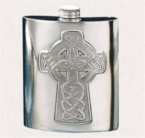 Flachmann - Keltisches Kreuz, aus Zinn