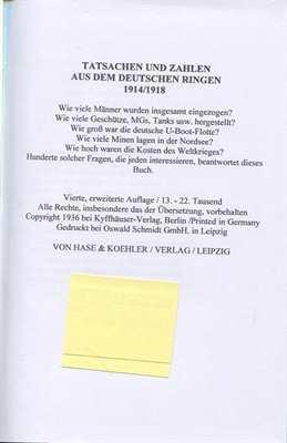 Tatsachen und Zahlen aus dem Deutschen Ringen 1914